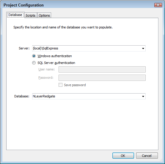 The Project Configuration Dialog of Data Generator