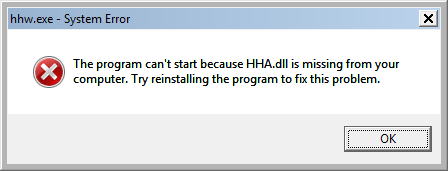 The program can't start because HHA.dll is missing from your computer. Try reinstalling the program to fix this problem.