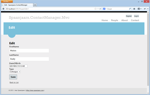 Editing a contact person in the MVC site