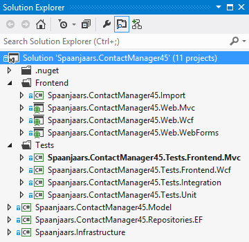 The Solution Explorer showing the Spaanjaars.ContactManagerV45 Application