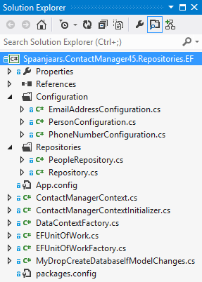 The Solution Explorer for the Spaanjaars.ContactManager45.Repositories.EF project