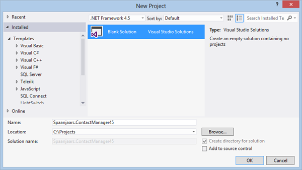 The New Project dialog in Visual Studio 2012