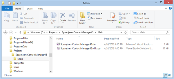 File Explorer showing the solution