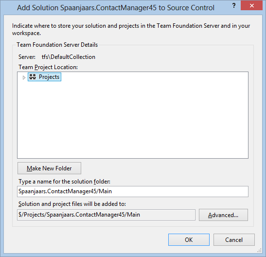 The Add Solution to TFS dialog