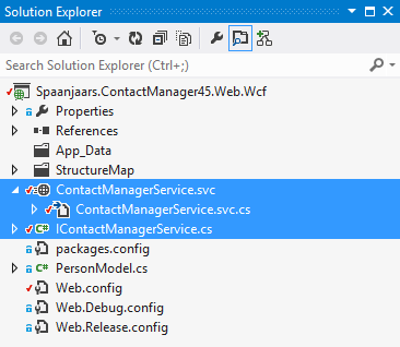 Solution Explorer showing the service files