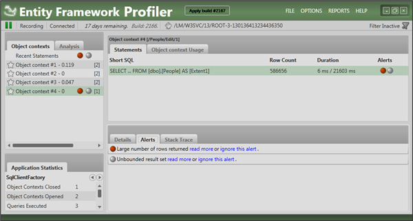 Entity Framework Profiler highlighting issues