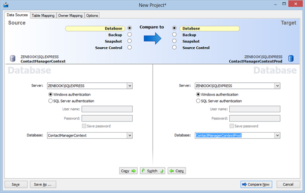 Red Gate SQL Compare – Configure Databases