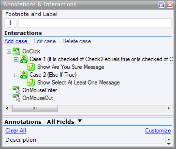 Axure Interactions Panel showing the If and Else conditions