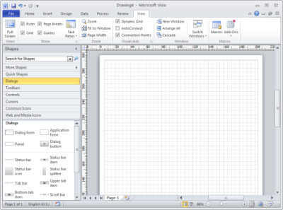 The Main Screen of Microsoft Office Visio 2010