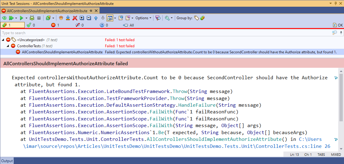 ReSharper's test runner showing that the test has failed because SecondController doesn't have the Authorize attribute