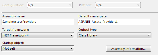 The Project Properties Dialog