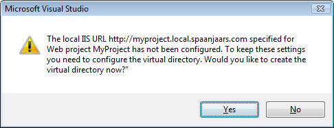 Error message saying: The local IIS URL http://myproject.local.spaanjaars.com specified for Web project MyProject has not been configured. To keep these settings you need to configure the virtual directory. Would you like to create the virtual directory now?