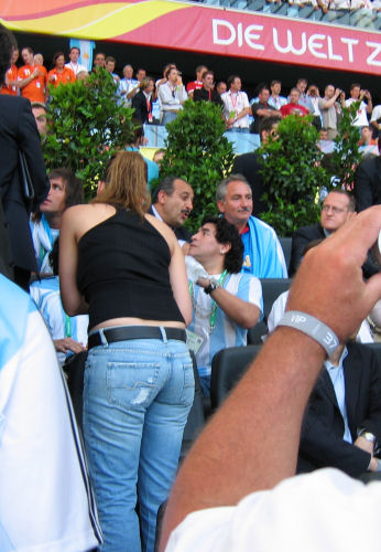 Diego Maradona was watching the game too