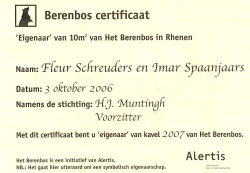 Certificate of ownership of the Zoo Berenbos in Rhenen